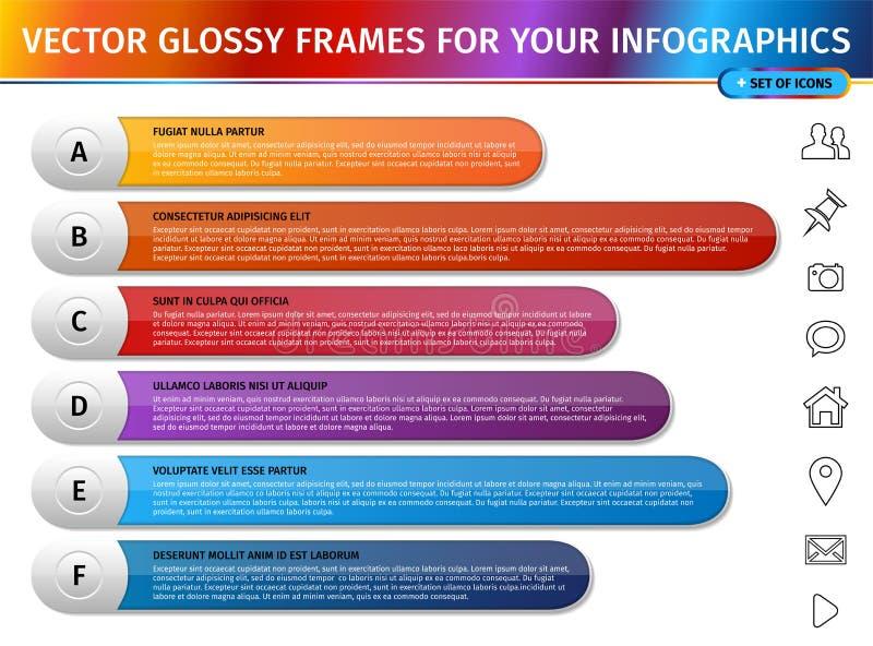 Рамки градиента современного дизайна лоснистые для infographics иллюстрация штока