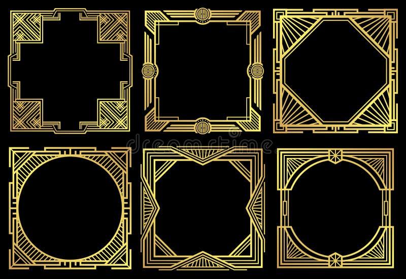 Рамки границы nouveau стиля Арт Деко в комплекте вектора стиля 1920s иллюстрация штока