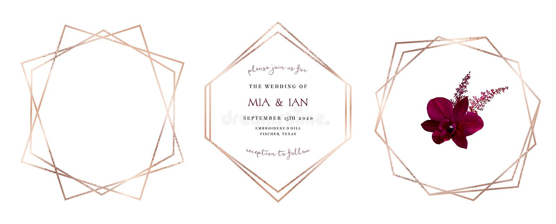 Рамки дизайна вектора стильного розового золота яркого блеска геометрические иллюстрация штока