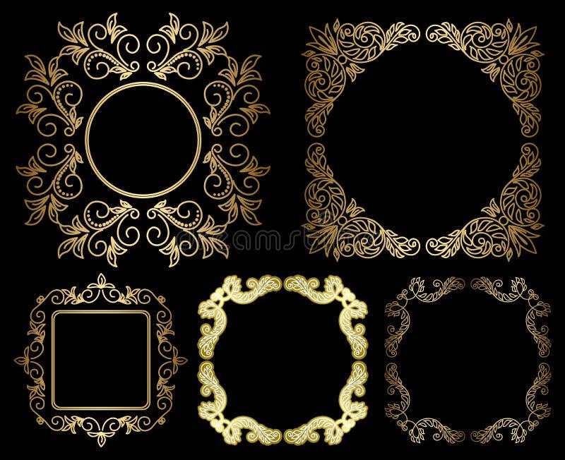 Рамки золота флористические винтажные - комплект иллюстрация вектора