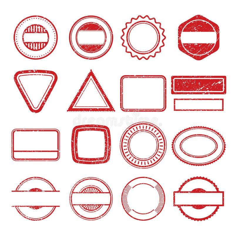 Рамки избитой фразы Grunge царапая insignia тампона столба штемпелюет изолированные шаблоны вектора бесплатная иллюстрация