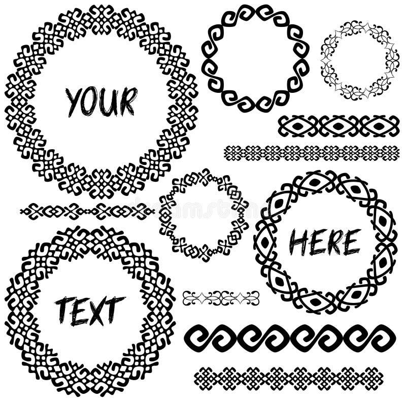 Рамки и границы винтажных geometic элементов круглые в мега комплекте иллюстрация штока