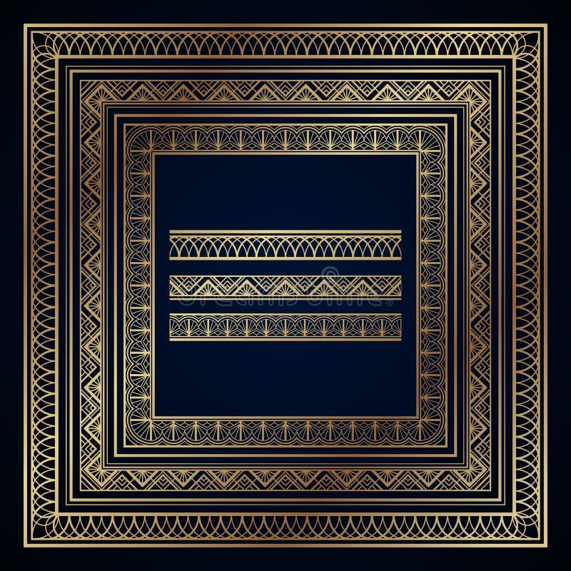 Рамки и границы стиля Арт Деко золота на синей предпосылке иллюстрация вектора