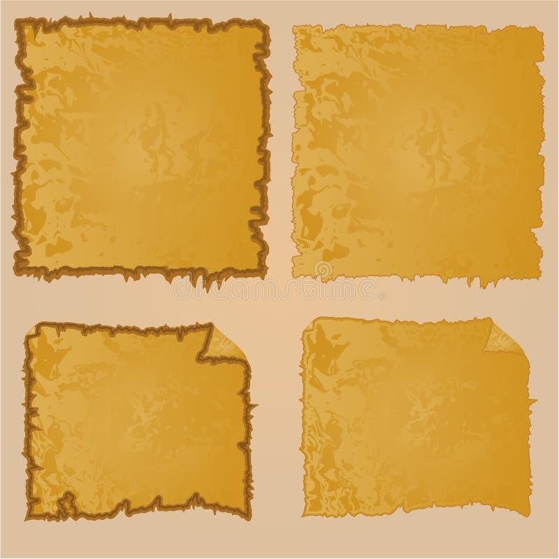 Рамки или поврежденное оборудование и растрепанный старый бумажный год сбора винограда иллюстрация вектора