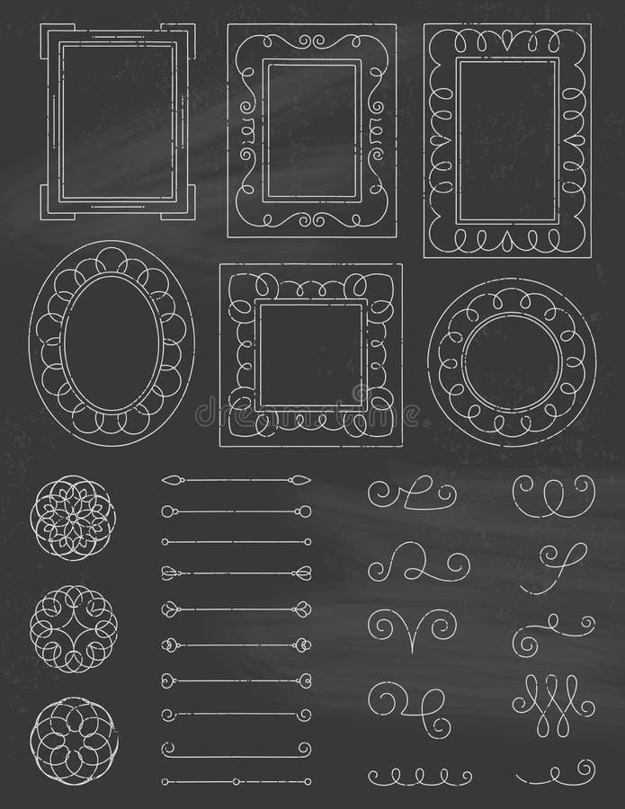 Рамки и элементы Doodle доски стоковое фото rf