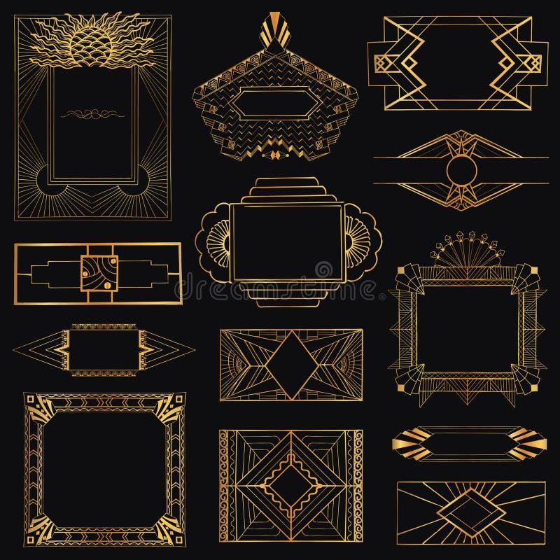 Рамки и элементы стиля Арт Деко винтажные иллюстрация вектора