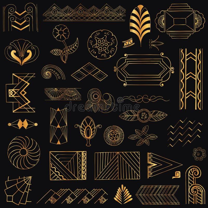 Рамки и элементы стиля Арт Деко винтажные бесплатная иллюстрация