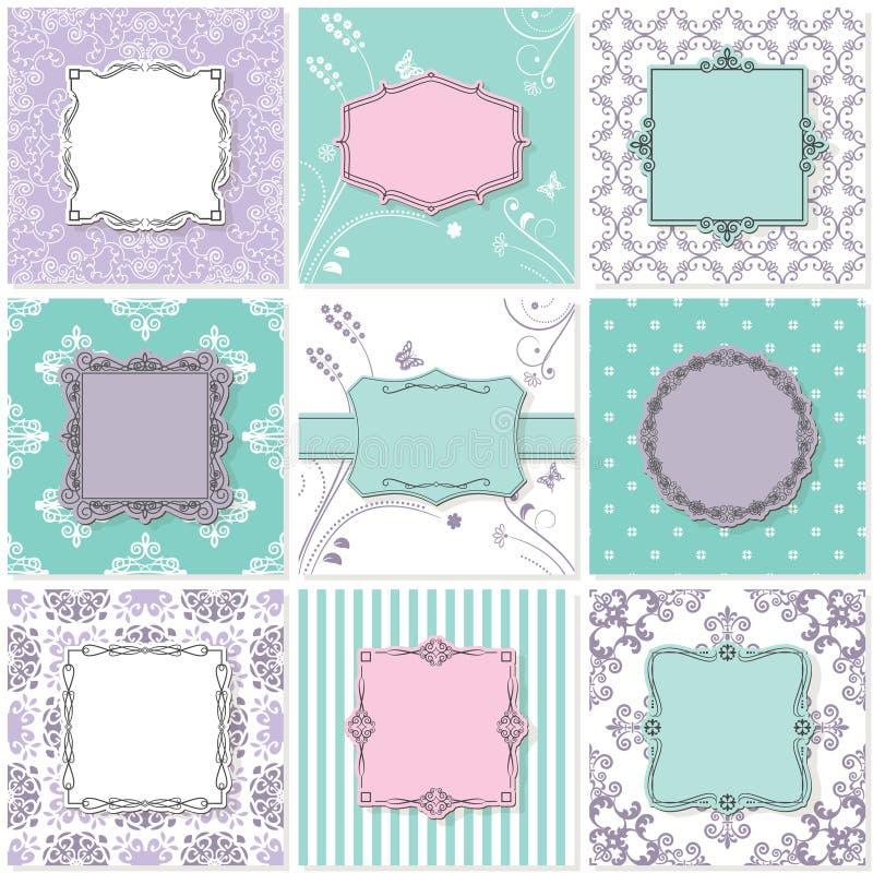 Рамки, карточки и картины Винтажные шаблоны иллюстрация вектора