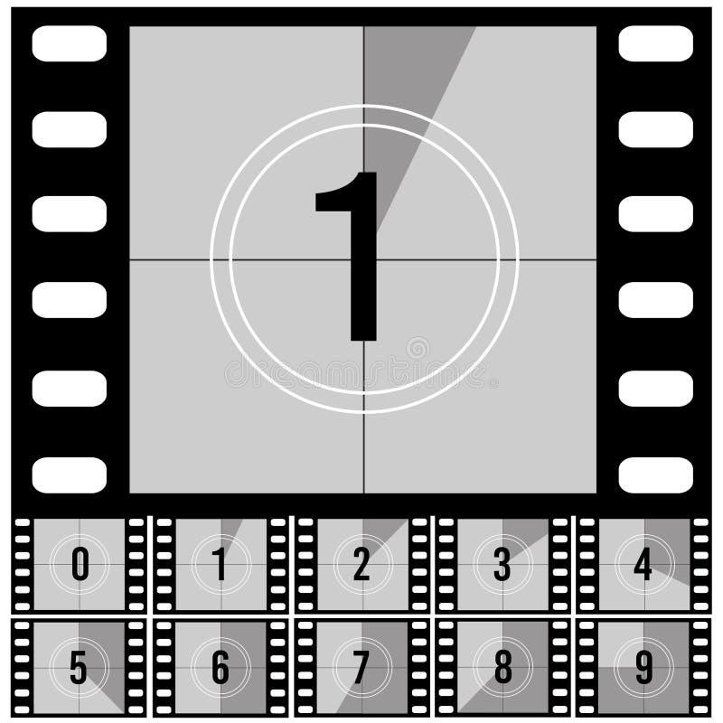 Рамки комплекса предпусковых операций Счетчик ретро таймера фильма фильма всеобщий с номерами вектор комплекта сердец шаржа припо иллюстрация вектора