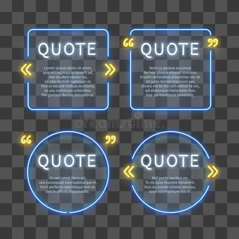 Рамки коробки 80s неонового света с метками цитаты на прозрачной предпосылке иллюстрация штока