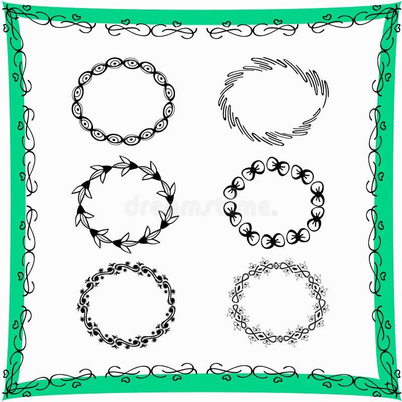 Рамки нарисованные рукой декоративные стоковое изображение