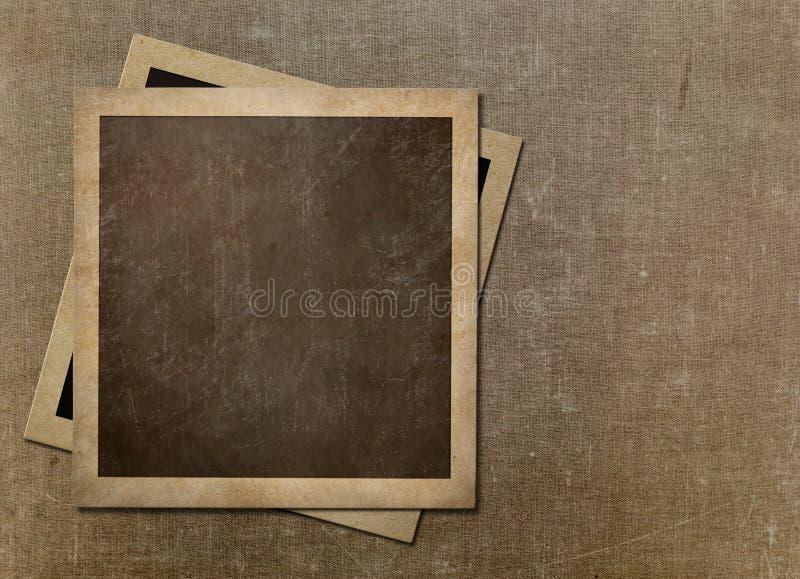 Рамки старого немедленного фото поляроидные на холсте grunge стоковое изображение rf