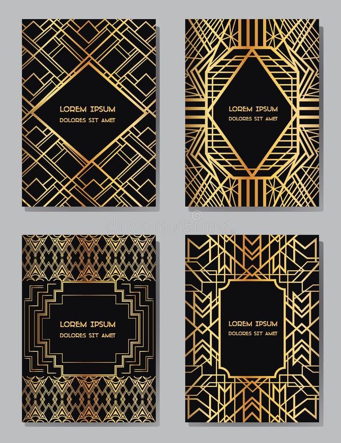 Рамки стиля Арт Деко винтажные и элементы дизайна иллюстрация штока