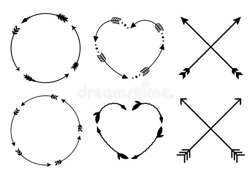 Рамки стрелки круга и сердца Вензеля круга и сердца Стрелки битника креста Criss Стрелки в стиле boho Племенные стрелки Комплект  иллюстрация вектора