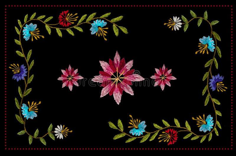 Рамки с красными шариками и стежки сатинировки вышивки картины с фиолетовыми и красными и белыми cornflowers на черной предпосылк иллюстрация вектора