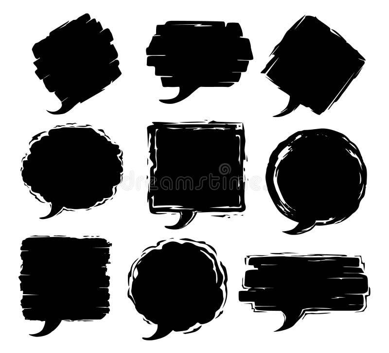 Рамки текста речи хода кисти grungy текстурированные иллюстрация вектора