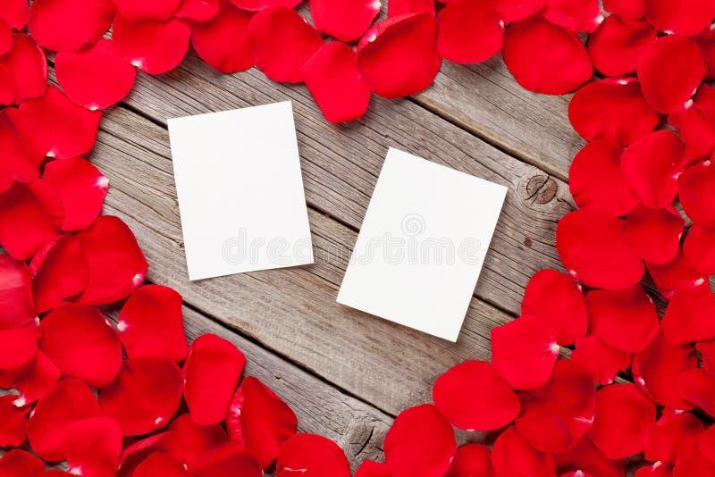Рамки фото над лепестками древесины и красной розы стоковое фото rf