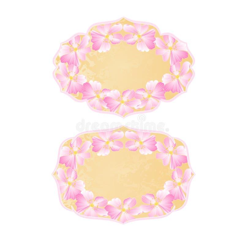 Рамки цветут вектор одичалых роз винтажный старый бумажный иллюстрация штока