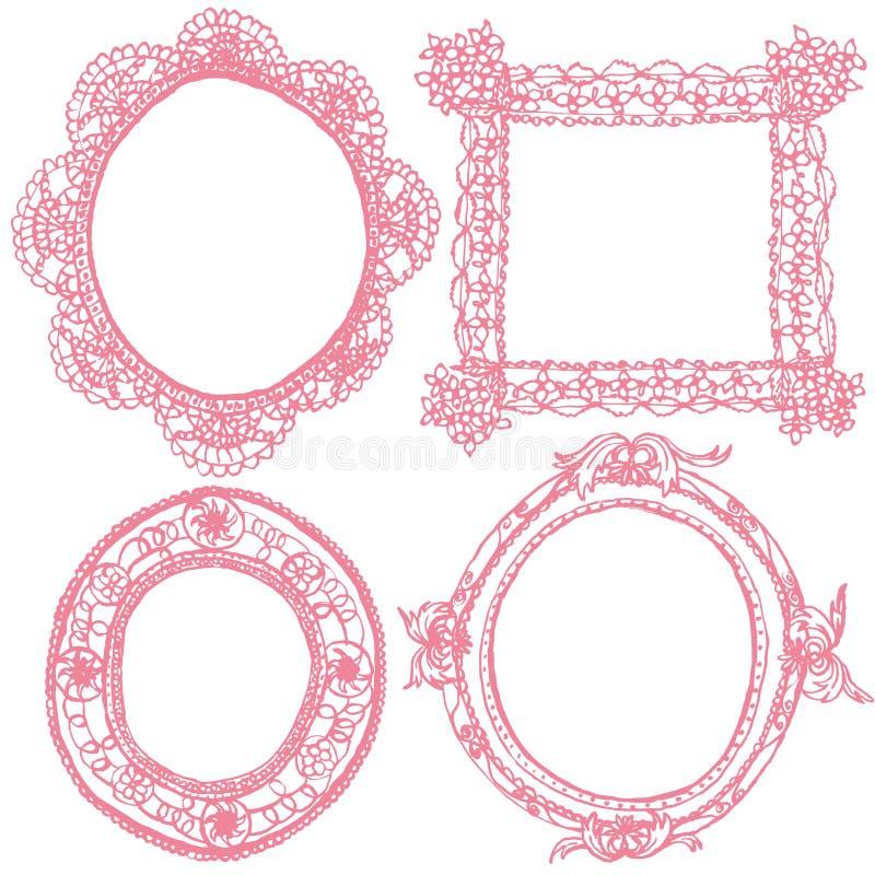 Рамки шнурка и античные рамки иллюстрация вектора