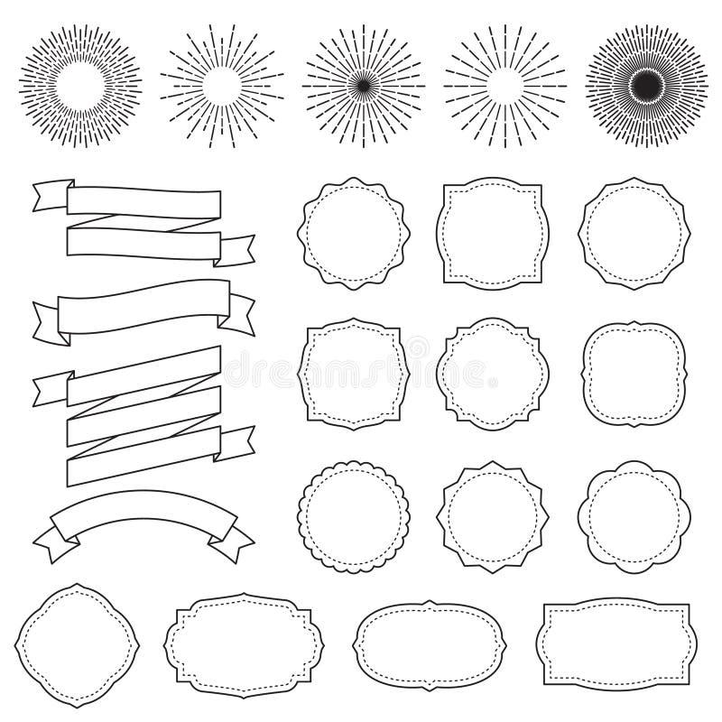 Рамки Sunburst Ретро starburst излучает рамку Винтажный штемпель взрыва солнца и линии разрывать для стикера конструируют вектор бесплатная иллюстрация