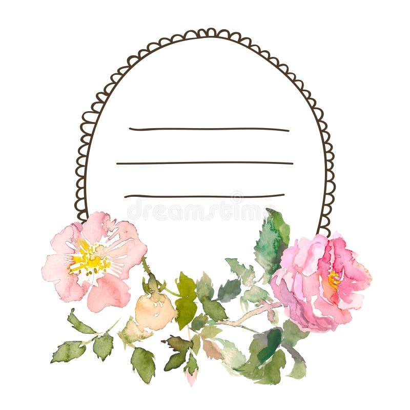 Рамку акварели с розами, можно использовать как карточка приглашения для wedding, день рождения и другие праздник и лето бесплатная иллюстрация