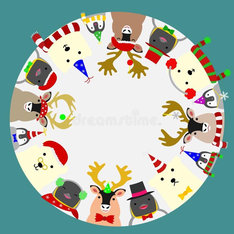 Рамку милых ледовитых животных круглую, центральный белый глобус можно извлечь иллюстрация вектора