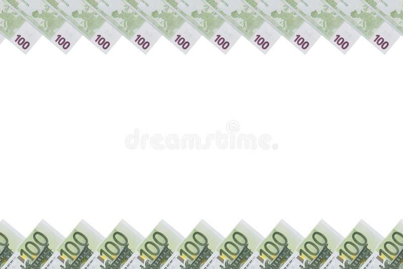100 рамок фото примечаний евро Рамка денег банкнот евро изолированных на белой предпосылке скопируйте космос установьте текст _ стоковое изображение