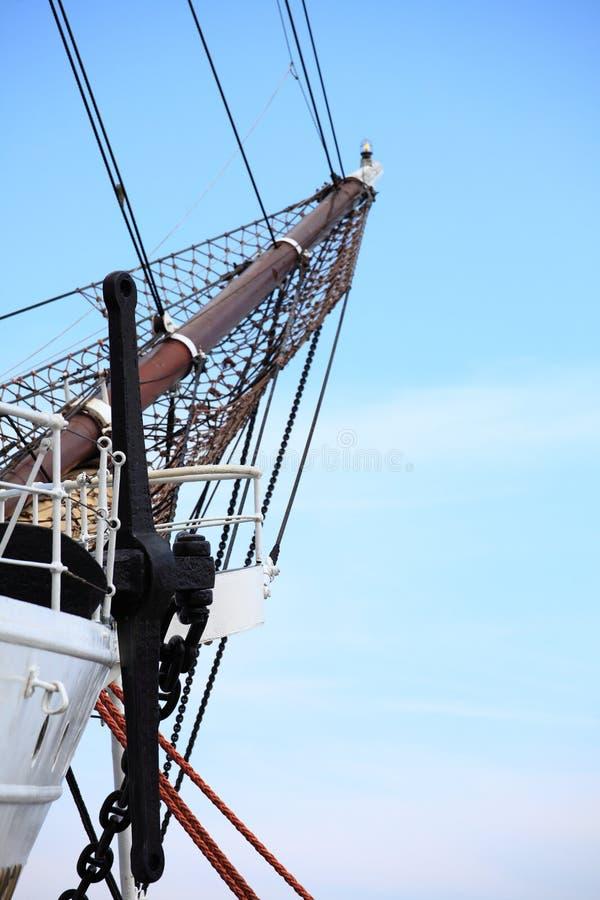 Рангоуты и веревочка корабля sailing. стоковые изображения