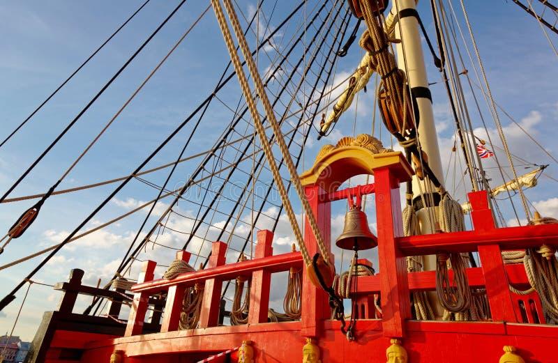 Рангоуты и такелажирование старого деревянного парусника Палуба деталей корабля стоковые изображения rf