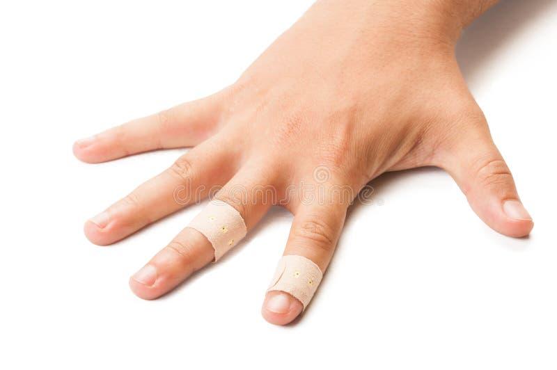 Раненая рука на белой предпосылке стоковое фото rf