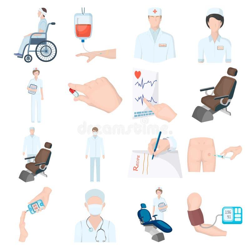 Раненый в прогулочной коляске, переливании крови, испытании уровня сахара в крови, докторе, медицинском персонале Значки собрания иллюстрация вектора