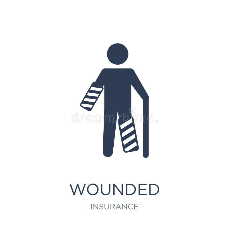 Раненый значок Значок ультрамодного плоского вектора раненый на белом backgroun иллюстрация штока