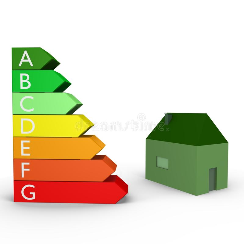 ранжировки изображения дома энергии 3d иллюстрация штока