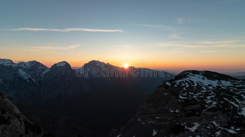 Раннее утро в Kamnik Savinja Альп стоковое фото rf