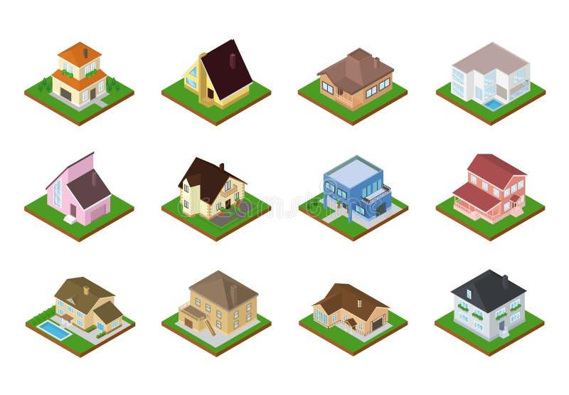 Расквартируйте архитектуру снабжения жилищем вектора равновеликую или жилой домашний комплект иллюстрации экстерьера здания домоу иллюстрация штока