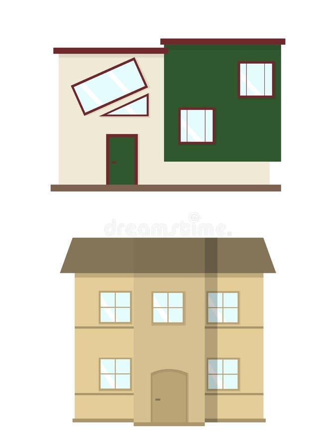расквартируйте иллюстрацию Домашний комплект экстерьера в плоском стиле Дом современный и традиционный стоковая фотография