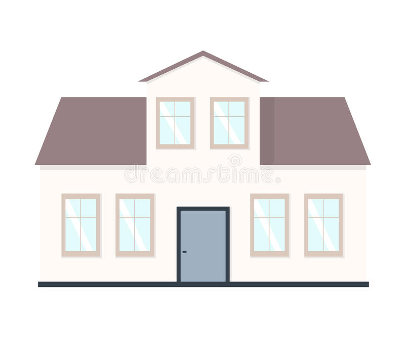 расквартируйте иллюстрацию Домашний комплект экстерьера в плоском стиле Дом современный и традиционный стоковые фотографии rf