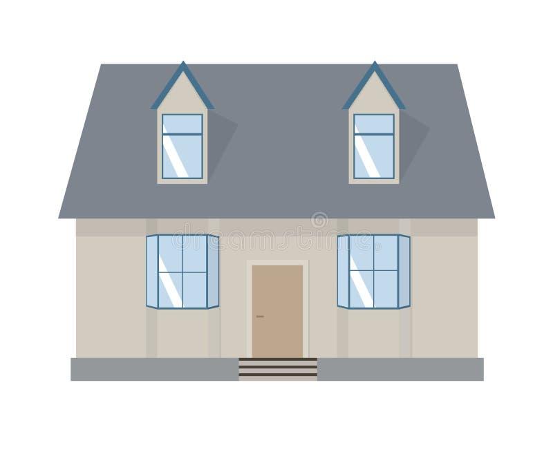 расквартируйте иллюстрацию Домашний комплект экстерьера в плоском стиле Дом современный и традиционный стоковая фотография rf