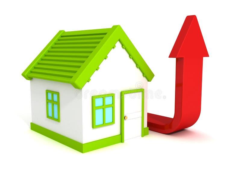 Расквартируйте красную растущую стрелку, поднимать цены недвижимости иллюстрация вектора