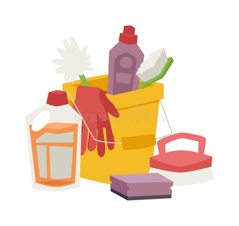 Расквартируйте установленные гигиену чистки и значки вектора продуктов плоские иллюстрация вектора