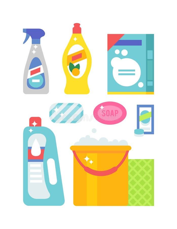 Расквартируйте установленные гигиену чистки и значки вектора продуктов плоские бесплатная иллюстрация