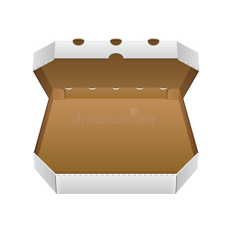 Раскройте белизну, коробку пиццы коробки пробела Брайна Подготавливайте для вашей конструкции Вектор EPS10 упаковки продукта бесплатная иллюстрация