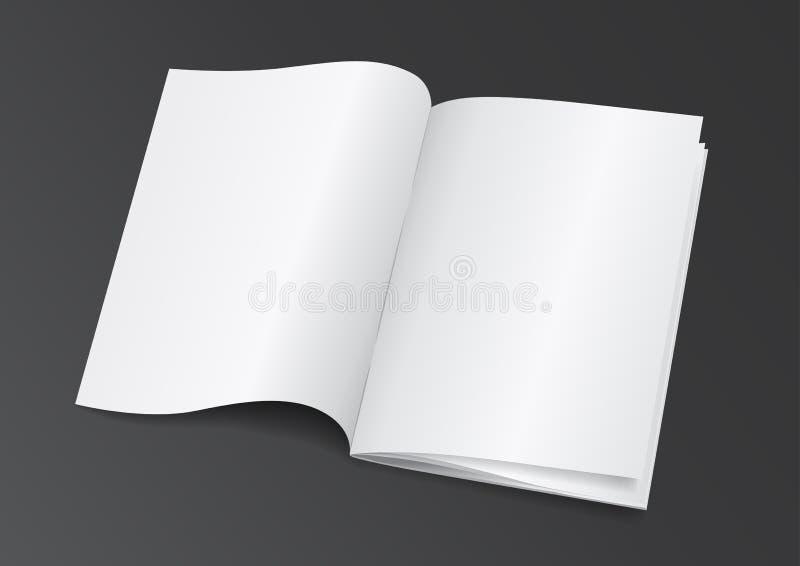 Раскройте белую пустую кассету брошюры для насмешки вверх - Vector Illustra иллюстрация вектора