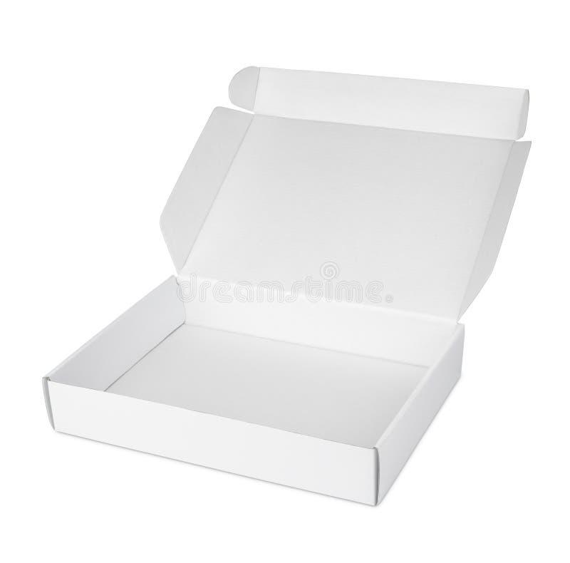 Раскройте белую пустую коробку пиццы коробки иллюстрация штока