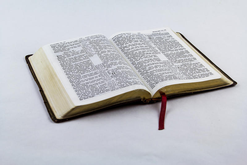 Раскройте библию на белой предпосылке стоковые фотографии rf