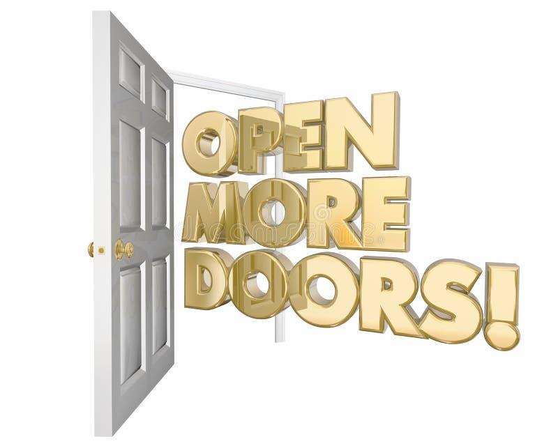 Раскройте больше слова возможностей дверей нового иллюстрация вектора