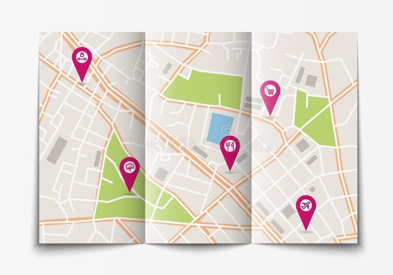 Раскройте бумажную карту города иллюстрация штока