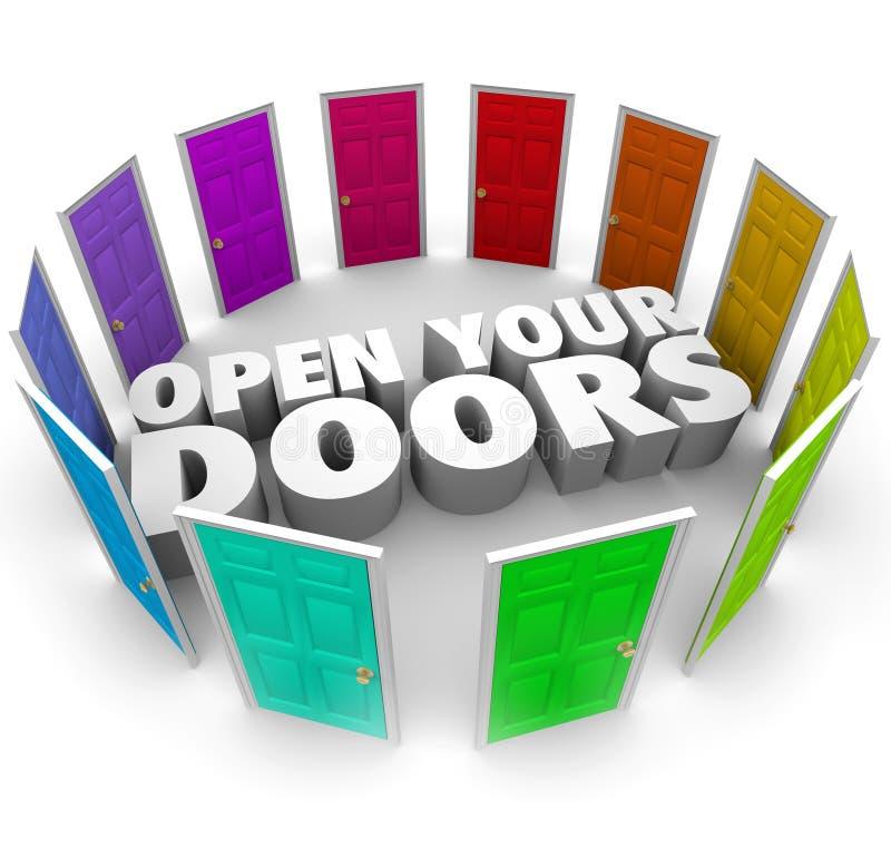 Раскройте ваши пути вариантов возможности возможности дверей новые бесплатная иллюстрация