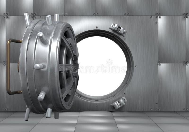 Раскройте дверь банковского хранилища иллюстрация вектора