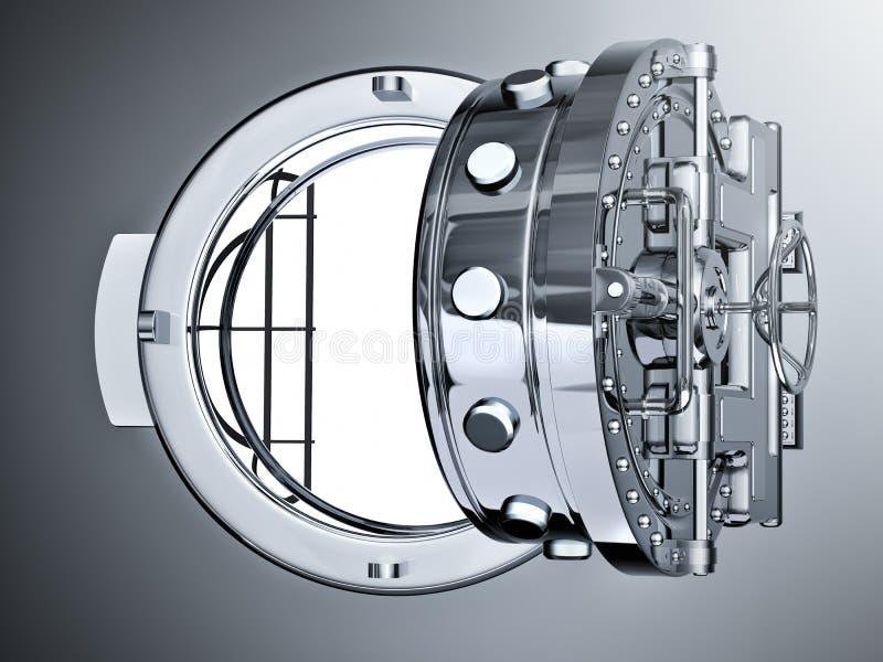 Раскройте дверь свода банка иллюстрация вектора